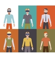 Men in the virtual reality headsets vector image vector image