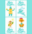 merry christmas bear and owl vector image vector image