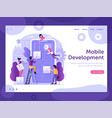 mobile app developing process in flat design vector image