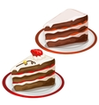 Piece of delicious cake with strawberry on top vector image vector image
