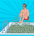 pop art happy man jumping to the pool of money vector image vector image