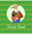 poster inscription fresh food on green background vector image vector image