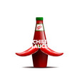 realictic bottle of chili sauce with a mustache vector image vector image