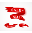 Red paper sale ribbon vector image vector image