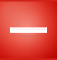 ruler icon on red background straightedge symbol vector image vector image