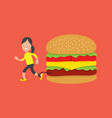 running woman with hamburger health concept vector image vector image