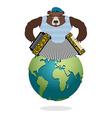 Russian Bear Patriot plays harmonica Wild animal vector image vector image