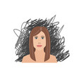 scared and depressed girl on black scrawl vector image