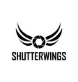 shutter wings photography logo design template vector image vector image