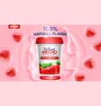 strawberry flavor yogurt ad vector image
