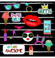 Trendy fashionable pins patches stickers vector image vector image