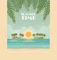 tropical beach poster on summer time vector image vector image