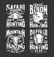 tshirt print with mountain goat buffalo and bison vector image vector image