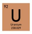 uranium chemical symbol vector image vector image