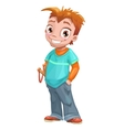 Funny standing red haired boy vector image