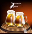 beer mugs realistic design mock up product vector image