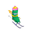 funny sportive cucumber skiing vegetable vector image