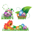 Eggs with abstract pattern in the grass vector image