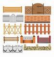 gate fences and hedges metal stone wood vector image