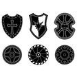 Icon set of ancient medieval shield vector image