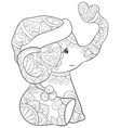 adult coloring bookpage a cute cartoon elephant vector image vector image