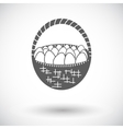 basket eggs single icon vector image