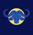 buffalo in moonlight portrait a buffalo vector image vector image