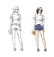 casual summer look fashion vector image vector image