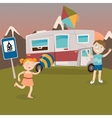 Children on Camper Vacation Happy Kids Playing vector image vector image