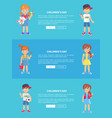 children s day web banner with kids holding toys vector image