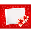Christmas background with gift boxes and red bow vector image