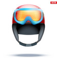 classic ski helmet with snowboard goggles vector image vector image