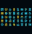 coffee shop icons set neon vector image vector image