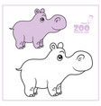 cute cartoon little hippo color and outlined on a vector image vector image