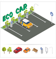 Eco Car Isometric Transportation Charging Station vector image vector image
