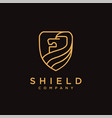 elegant lineart lion shield logo icon template vector image