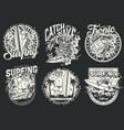 extreme surfing vintage monochrome labels vector image vector image