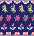 folk floral motifs seamless pattern on dark vector image vector image