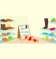 footwear horizontal banner cartoon style vector image vector image