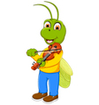 funny green grasshopper cartoon playing violin vector image vector image