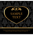 Golden label heart on damask black background vector | Price: 1 Credit (USD $1)