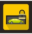 Green car and padlock icon flat style vector image vector image