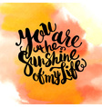 Hand drawn watercolor lettering poster-Sun with vector image