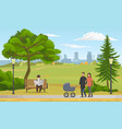 happy young family with a bain stroller walking vector image vector image