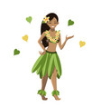 hawaiian girl in pose isolated element image vector image vector image