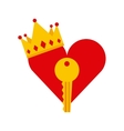 heart key and crown icon vector image