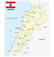 lebanon road map with flag vector image