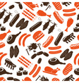 meat food icons and symbols color seamless pattern vector image