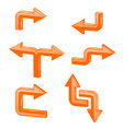 orange 3d arrows different directions vector image vector image
