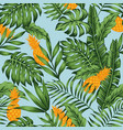 orange pineapple green jungle blue background vector image